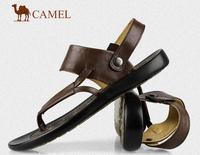 Male sandals genuine leather camel flip flops shoes leather flip-flop slippers sandals