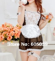 Sexy French Maid Apron  Women Party DS Cosplay For Sex Dress G string Open Ass Costumes new drop shipping wholesale ul013