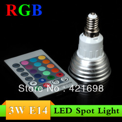 E14 3W RGB LED Light Spotlight Bulb Lamp with Remote Controller Free Shipping(China (Mainland))