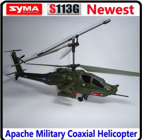 SYMA S113G 37CM Apache Military Coaxial Gyro 3CH Shark RTF RC Helicopter 3.5 Channel LED Radio Remote Control Plane Baby Toys(China (Mainland))