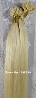 "Bulk Women Hair Straight Nail Tip In Extensions AAAA+ 18""-32"" 1g/s 100s Platinum Blonde #60"
