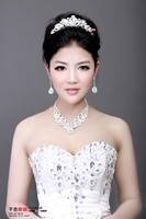 Free  shipping   Deep affection honey big rhinestone wedding dress accessories set marriage jewelry necklace piece set