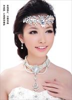 Free shipping   Bride colorful big crown amount accessories Korean rhinestone hair accessory