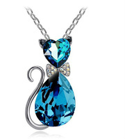 Free Shipping Factory wholesale hot sell fashion 2014 year charming cat crystal necklace for women,4pcs/lot