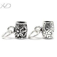 XD KM005/KM455 925 sterling silver vintage flower spacer pendant fashion beads with loop