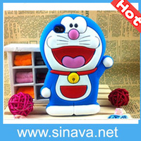 2013 Lovely cute cartoon 3D  Doraemon design soft Silicone Case for iPhone 4 4S  Animal Design CN Free Shipping