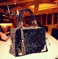 Free shipping 2014 new leopard Sequin/leopard fur women's fashion single shoulder bag,wedding handbags and ladies' evening bag