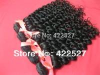 Free shipping 1pcs/lot virgin Brazilian hair  human hair extension high quality grade AAAAAAA deep wave curly