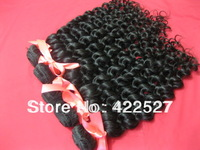 Free shipping 1pcs/lot virgin Brazilian hair queen hair products human hair extension high quality grade AAAAA deep wave curly