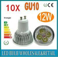 10pcs/lot Dimmable GU10 4X3W 12W 4-CREE LEDS Led Lamp Spotlight 85V-265V Led Light downlight High Power free shipping