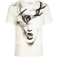 Free Shipping 2014 Summer Fashion O-neck self-shade smoke girl pattern short-sleeve T-shirt white D-454