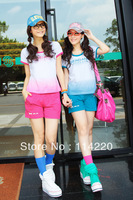 New Arrival Summer Korean Short Sleeve O Neck Letter Printed T Shirt+Shorts 2PCS Sport Clothing Set Casual Active Suits