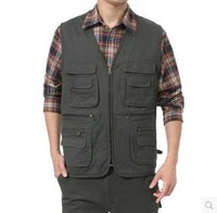 New Fashion Spring Casual Cotton Male Plus Size 3XL 4XL Multi-Pockets Colete Masculino Fishing Vest Men Sleeveless Jacket