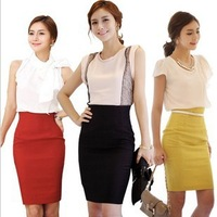 2014 Black,Yellow,Red,White XS,S,M~3XL Fashion lady summer high waist  women long A skirt formal plus size woman pencil skirts