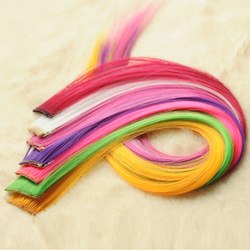 Party Queen - Hair Pieces Colorful Clip Straight Hair Extension / Hair Piece / Synthetic Hair Extensions 20pcs/lot(China (Mainland))