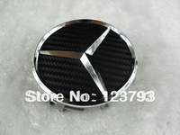 75mm Black Carbon Fiber Style Wheel Center Caps Emblem For Mercedes Benz with free shipping