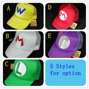 Super Mario Bros Hat cosplay for children Baseball Caps Mario Luigi Wario Waluigi 5 styles mix free shipping