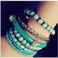 Bohemian Ocean Wind Blue Purple Beads Multi-layer Bracelet Bangles For Girls 017