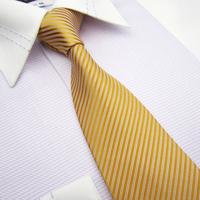 8cm High Quality formal Men Dress Neck tie golden Striped Wedding accessories Necktie  Birthday Gift Box