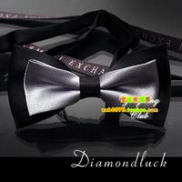 Silver black Color Block Quality Male Bow Tie Women's Cravat Bow tie Men Dress Tie Neck Tie Accessory Men Gift w/ gift box