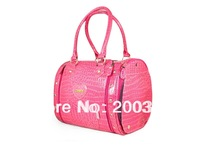 Peach pink Senior crocodile pattern Korean feed pet package (strapless)  Pet Dogs Carrier Bag