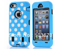 Polka Dots Soft Rubber Silicone + PC Hard Hybrid Combo Heavy Duty Rugged Impact Defender Case Cover for iPhone 5C, Free Shipping