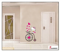 FreeShipping 2013 new baby set hello kitty home decoration for girls room wall stickers home decals vinyl wallpaper for children