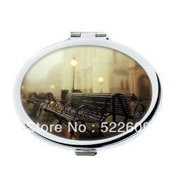Wholesale(Min.5 pieces) Rainy Sight Printed Handy Mirror Free Shipping M02-19(China (Mainland))