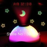 Beautiful LED Night Lamp Creative magic star projection lamp clocks/led colorful stars change color alarm clocks free shipping