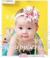 New Arrival Baby Girls Big Florwer Headband Infant Lace Hairband Headwear Kids Elastic Hair Ornament 10pcs Free Shipping TS-0110