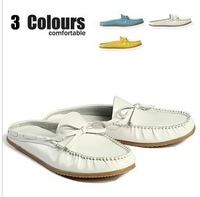 2013 Fashion Men Cow leather antiskid sandals  slippers out door beach mens sandals  size 39~43 three colors blue yellow white