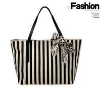 Free shipping Fashion leisure strip Handbag Tote Designer Lady girl's student shoulder beach bag canvas desgin