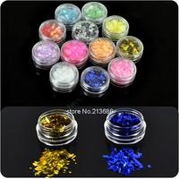 8sets/Lot New 12 Colors Ice Mylar Glitter For Acrylic / UV GEL Nail Art Decoration  4387