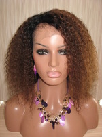 Brazilian Virgin Hair Ombre Lace Wig #1bT#4 Afro Kinky Curl Lace Front Wigs&Full Lace Wig human hair wigs for african americans