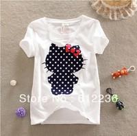 Summer Cloth new Hello Kitty Cartoon  T-shirt Cute students Girl Leisure 4 coors Tees T-Shirt  hot selling dropship free ship