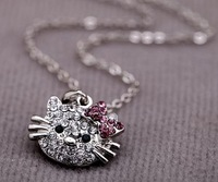 free shipping (5pcs/lot) Acrylic Silver plated hello kitty Necklace + Pendant  Best Quality