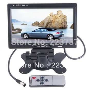"New Edition 7 ""TFT color LCD2 video input rearview mirror Headrest DVD recorder, free shipping"