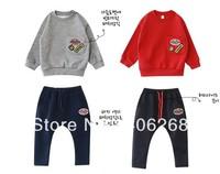 free shipping! high quality spring & fall cotton children Set  Large pocket Harem pants kids set
