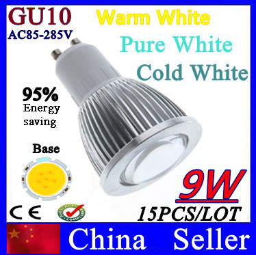 Direct selling 15X GU10/E27/MR16 Dimmable COB 9W White/Warm White LED Spotlight Two packages can enjoy fedex Shipping free(China (Mainland))