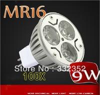 High power 100pcs/lot MR16 12V 3leds Dimmable 3X3W 9W High Power LED Lights LED Bulb Lamp Led Spotlight