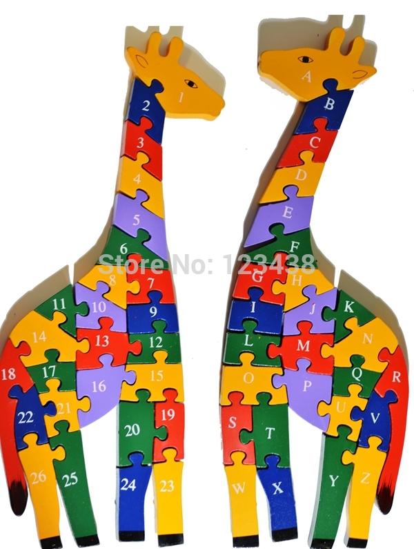Double Sides Number Alphabet Child Intelligence Wooden Giraffe Puzzle Animal Letter Toy(China (Mainland))