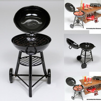 1:12 Black Iron BBQ Grill Miniature Garden Outdoor Dollhouse For Orcara Re-ment