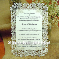 Laser cut rose vine wedding invitation card (Color and pattern can be customized)