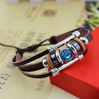 Fashion Handmade Multilayer Leather Charms Bracelets Rhinestone All-match Bracelets Bangles B086 Free Shipping