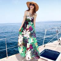 Beach dress bohemia summer spaghetti strap full dress one-piece dress cotton