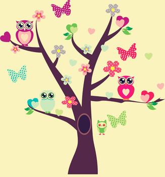 Owls Bird Tree Wall Sticker DIY Removable Vinyl Decal for Kids Nursery LXL