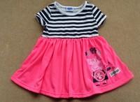 Free shipping children clothing cute George Peppa Pig  Girls short Sleeve striped dress