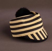 Free Shipping Summer Popular Bamboo Weaving Hat Strawhat Cap Female Fashion Yellow And Black Sunhat With Splode