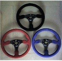 OMP!blue, black,red!Leather Steering Wheel Frosting leather steering wheel 14 inches for Modified and Sport Car