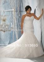 Top Online Mermaid Sweetheart Sleeveless Strapless Lace Plus Size Wedding Dress 2013